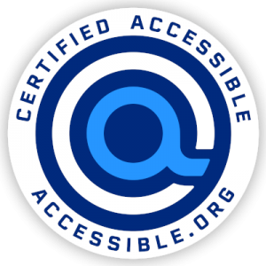 """certified accessible seal edition of accessible.org """"a"""" logo"""