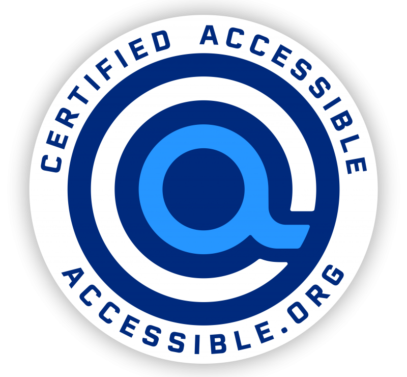 "certified accessible seal edition of accessible.org ""a"" logo"