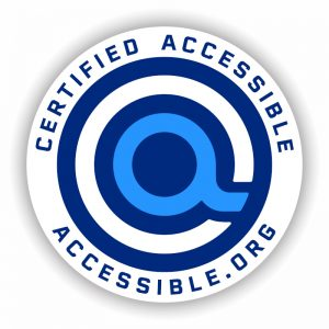 """Certified Accessible Seal from Accessible.org with iconic """"a"""" logo in center"""