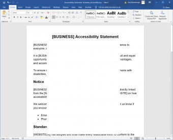 accessibility statement in word with text hidden